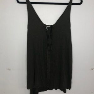We the Free  tank top olive green lace up front Sm